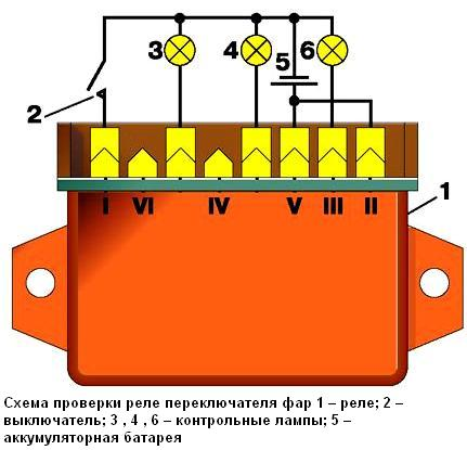 Схема проверки реле