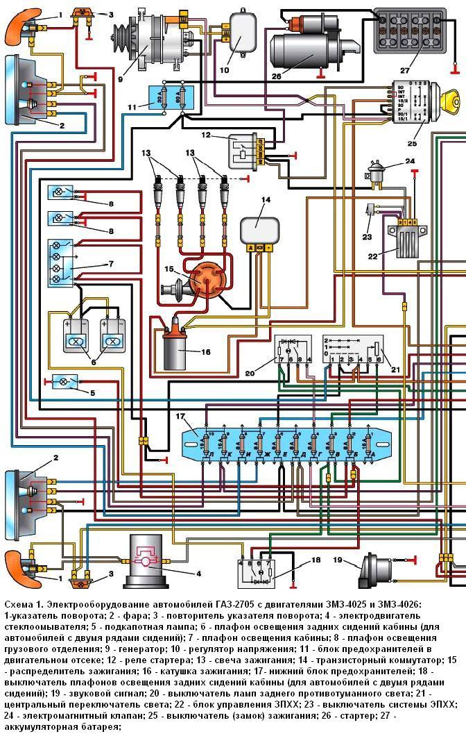 Схема 1 электрики ГАЗ-2705 с