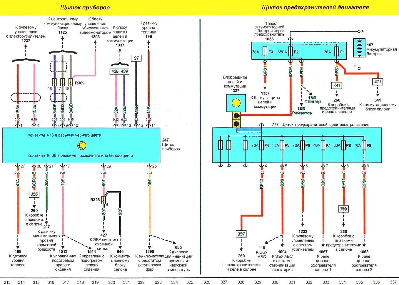газ 3110 схема щитка прибора