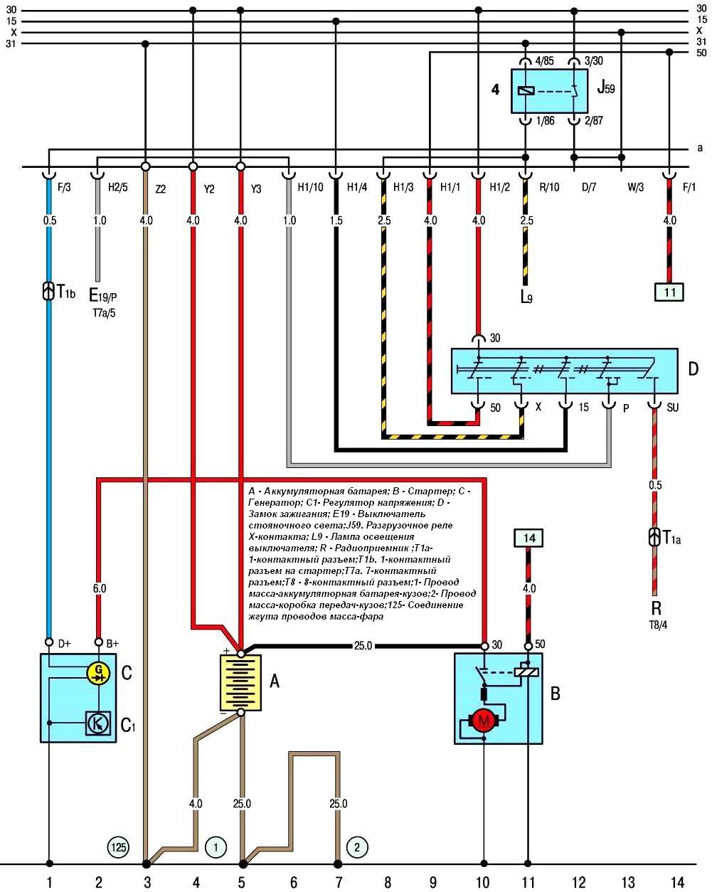 Схема замка зажигания фольксваген транспортер магнитола на фольксваген транспортер т5