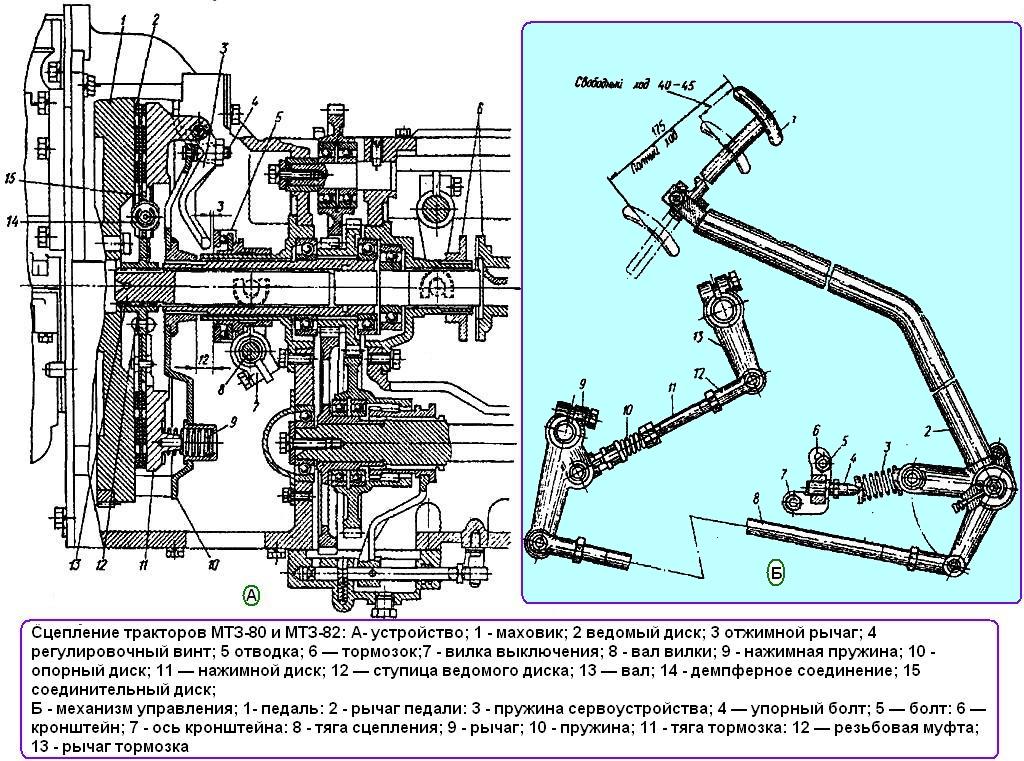 Сцепление трактора МТЗ; корзина сцепления, диск сцепления.